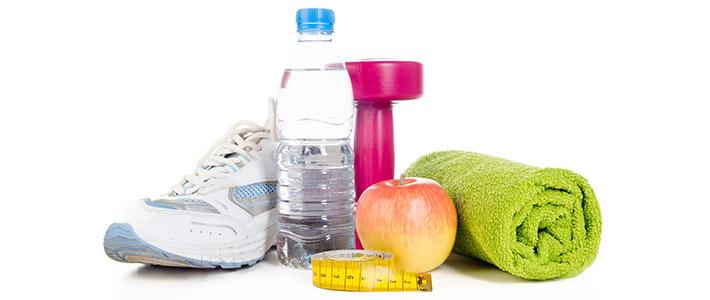Sport, Wasser und Obst