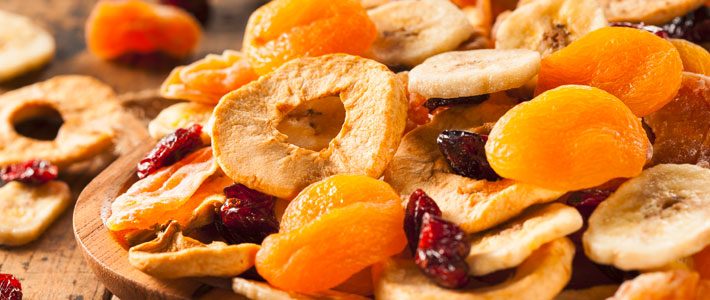 Getrocknete Früchte Apfel Banane Pfirsich