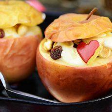 Header Bratapfel mit Mandelmus