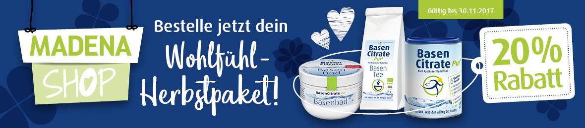 Madena Wohlfühl Herbst Paket November Aktion: BasenCitrate Pur, Basentee und Basenbad